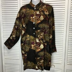 Chico's silk asian inspired long tunic blouse M